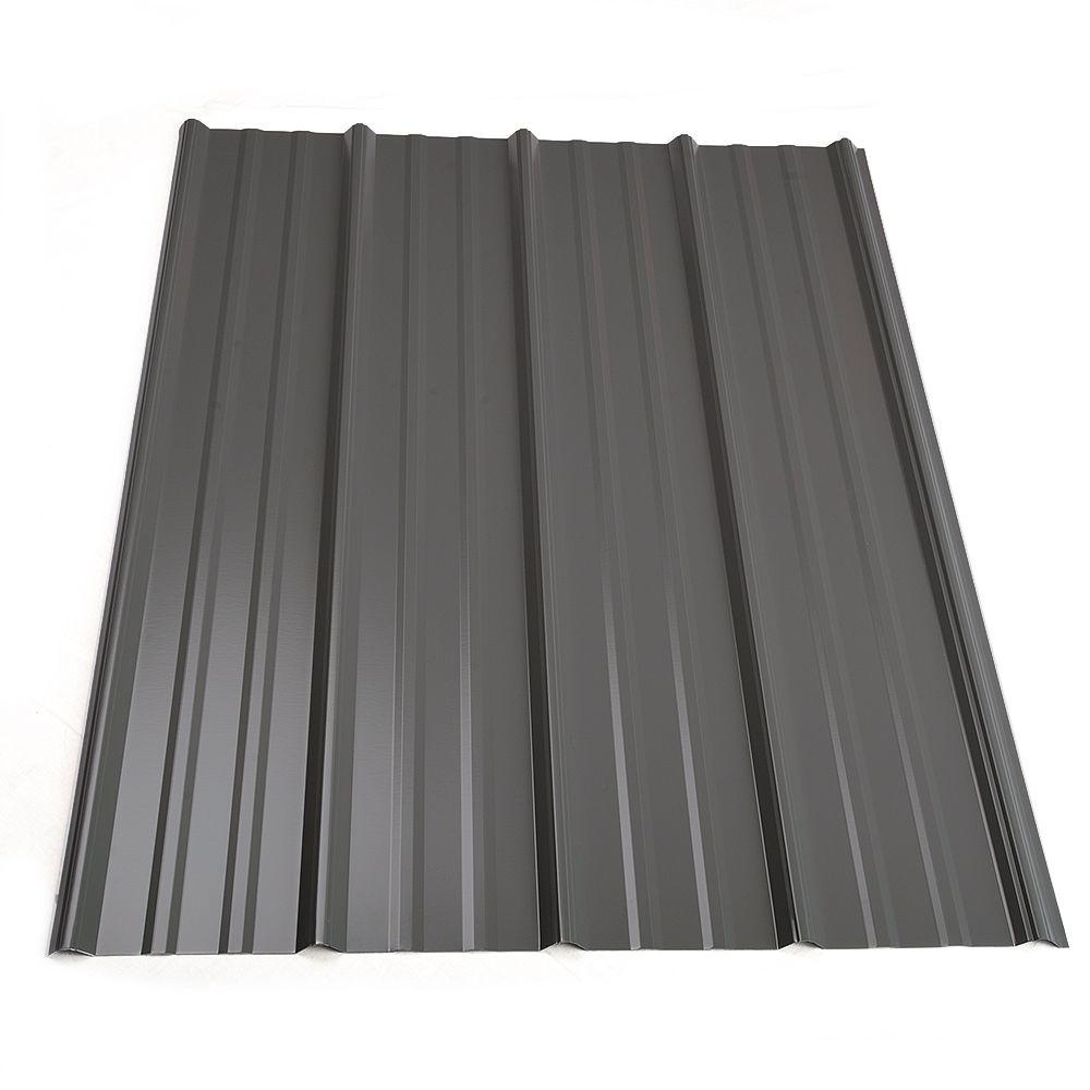 3 ft. 6 in. Classic Rib Steel Roof Panel in Charcoal