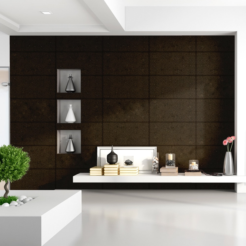EASY STONE Wall Paneling / Moldings & Accessories/Natural LimeStone Panel indoor 12x24' / Midnight Black Color / 12' x 24' x 3/8