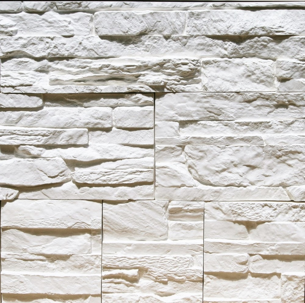 Stone Design Thin Gypsum Stone-Look Wall Decor / Contemporary/Tenerife White / 10.76 sqft Flat