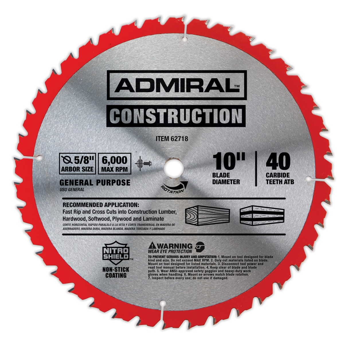 10 in., 40T General Purpose Circular Saw Blade with Nitro Shield Coating