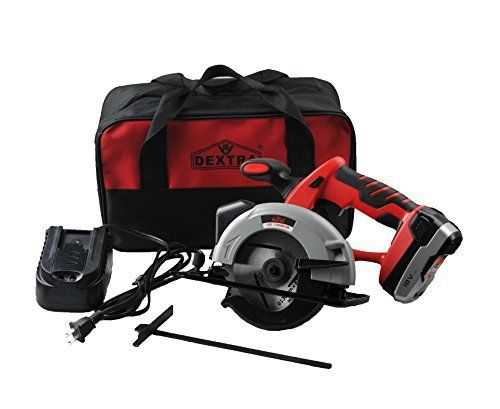 Dextra 15177 18-Volt Lithium-Ion Cordless Circular Saw Kit with 1 cutting blade, 1 guiding rular, 1 battery, charger, and storage bag